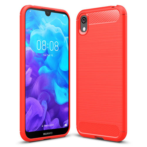 Flexi Slim Carbon Fibre Case for Huawei Y5 (2019) - Red